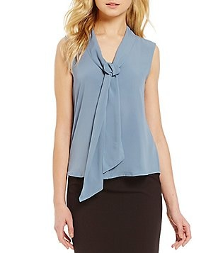 Calvin Klein Tie-Neck Sleeveless Crepe Shell