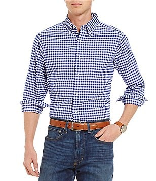 Cremieux Gingham Washed Oxford Long-Sleeve Woven Shirt