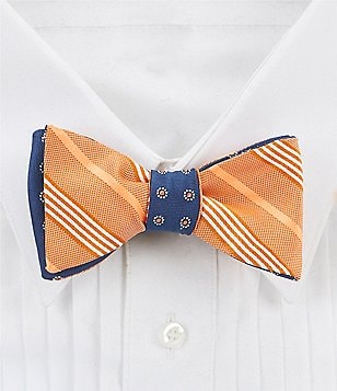 Brooks Brothers Reversible Tonal Stripes and Polka Dot Silk Bow Tie