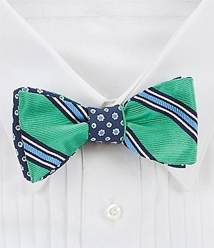 Brooks Brothers Reversible Stripe and Floral Bow Tie