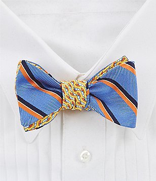 Brooks Brothers Reversible Stripe and Wind Board Printed Silk Bow Tie