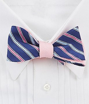 Brooks Brothers Reversible Alternate Rope Striped Silk Bow Tie