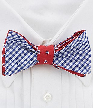 Brooks Brothers Reversible Polka Dot and Gingham Bow Tie