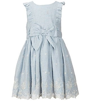 Pippa & Julie Little Girls 2T-6X Embroidered Ruffle Bow Dress