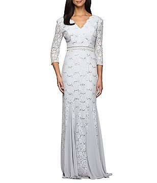 Alex Evenings V-Neck Sequined Lace 3/4 Sleeve Gown