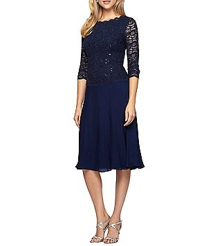 Alex Evenings Mock 2-Piece Lace Tea-Length A-Line Dress