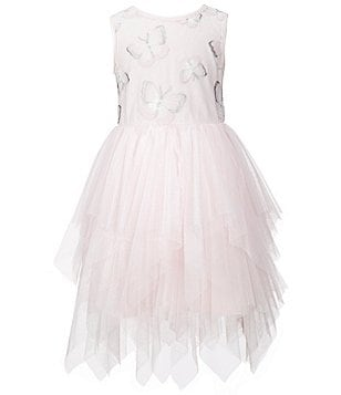 Pippa & Julie Little Girls 2T-6X Butterfly-Appliqué Layered Tulle Handkerchief Hem Dress