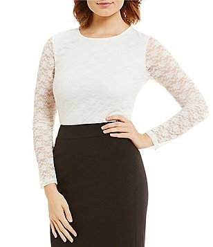 Calvin Klein Lace Overlay Knit Top