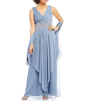 Alex Evenings Surplice V-Neck Bead-Trim Mesh Gown