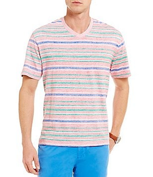 Cremieux Reversible Stripe V-Neck Short-Sleeve Jersey Tee