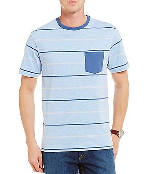 Cremieux Stripe Short-Sleeve Knit Jersey Crewneck Pocket Tee