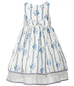 Laura Ashley London Little Girls 2T-6X Polka Dot Floral-Print Bow A-Line Dress
