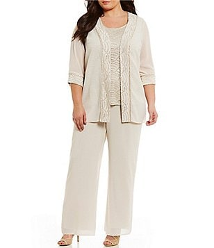R & M Richards Plus Mock 3-Piece Glitter-Trim Pant Set
