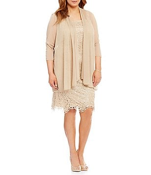 R&M Richards Plus Metallic Embroidered Lace Jacket Dress