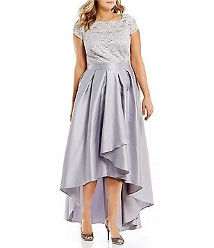 Ignite Evenings Plus Cap-Sleeve Lace Hi-low Ballgown