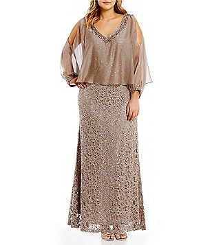 Ignite Evenings Plus Cold-Shoulder Capelet Lace Gown