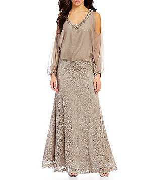 Ignite Evenings Lace Cold-Shoulder Capelet Gown