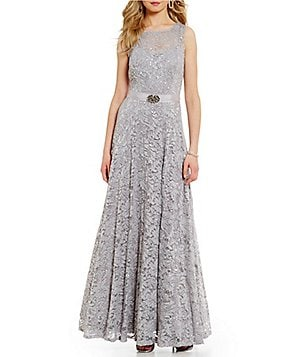 Ignite Evenings Belted Sequined Lace Ballgown