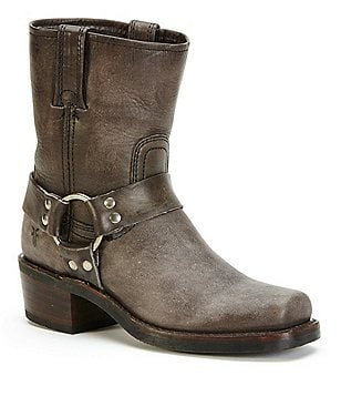 Frye Harness 8R Leather Strap and Buckle Pull-On Boots