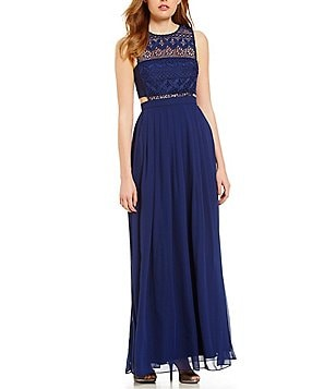 Aidan Aidan Mattox Illusion Lace Sleeveless Gown