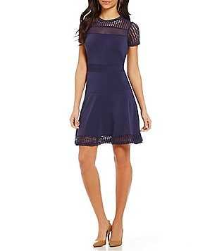 MICHAEL Michael Kors Mesh and Knit Combo Short Sleeve Fit-And-Flare Dress
