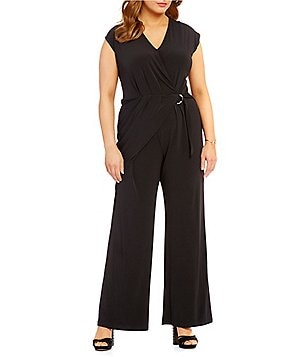 MICHAEL Michael Kors Plus Pleated Side Wrap Matte Jersey Jumpsuit