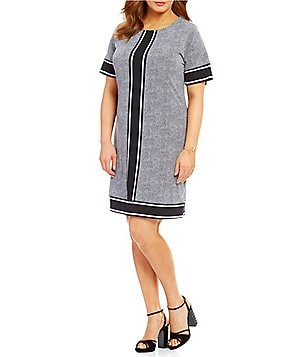 MICHAEL Michael Kors Plus Stingray Border Print Matte Jersey Shift Dress