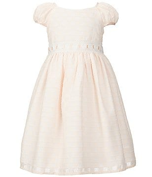 Laura Ashley London Little Girls 2T-6X Puff-Sleeve Check Embroidered Dress
