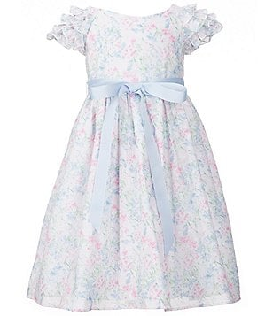 Laura Ashley London Little Girls 2T-6X Flutter Sleeve Floral Bow Dress