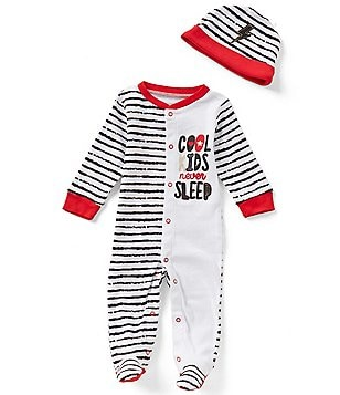 Baby Starters Baby Boys 3-9 Months Cool Kids Never Sleep Footed Coverall & Hat Set