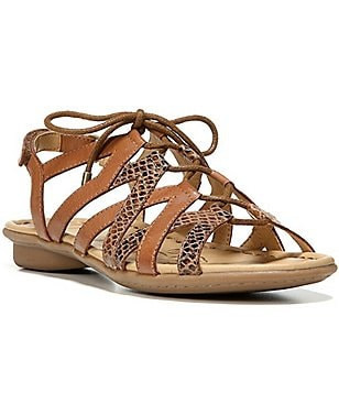 Naturalizer Whimsy Leather Snake Print Caged Lace-Up Sandals