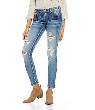 Vigoss Jeans Jagger Destructed Woven Stretch Zip Ankle Skinny Jeans