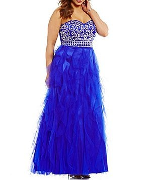 Masquerade Plus Beaded Bodice Strapless Long Corkscrew Dress