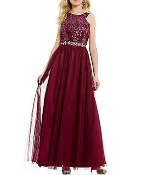 Masquerade Ombré Sequin Bodice Embellished Waist Lace-Up Back Ballgown