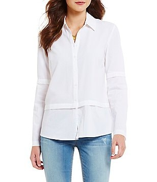 Guess Annalisa Twofer Point Collar Long Sleeve Button-Front Crepe Top