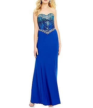 Masquerade Strapless Beaded Ombre Sequin Bodice Long Dress