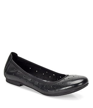 Born Julianne Leather Cut-Out Slip-On Round Toe Ballet Flats