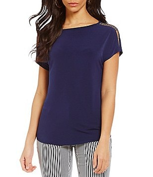 MICHAEL Michael Kors Metal Ball Chain Trim Matte Jersey Top