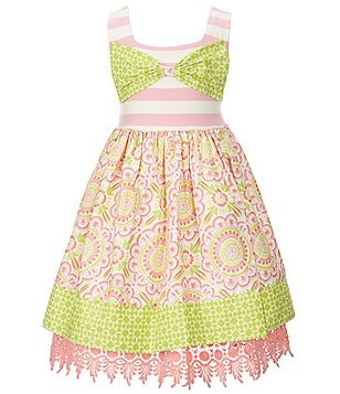Counting Daisies Little Girls 2T-6X Striped-Printed Bow Dress