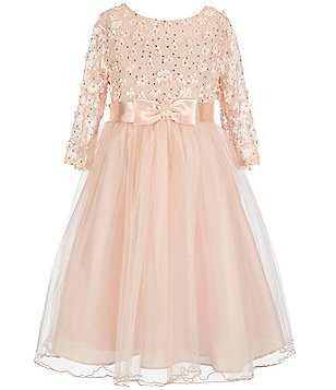 Bonnie Jean Big Girls Plus 14.5-20.5 Sequined-Daisy Long-Sleeve Tulle Dress