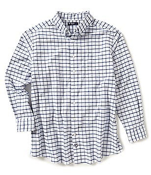Cremieux Big & Tall Gingham Lightweight Washed Oxford Long-Sleeve Woven Shirt