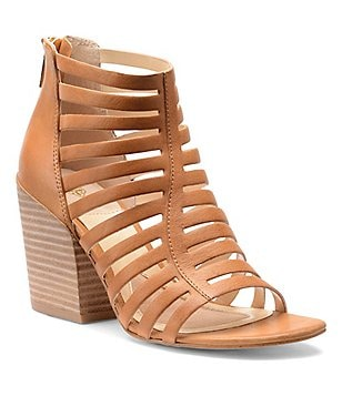 Isola Ianna Caged Leather Block Heel Sandals