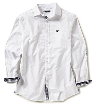 Cremieux Big & Tall Washed Solid Oxford Elbow Patch Long-Sleeve Woven Shirt