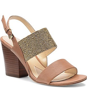 Isola Lia Leather Beaded Double Banded Slingback Block Heel Sandal