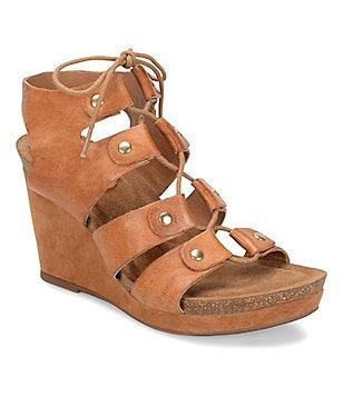 Sofft Carita Metallic Leather Lace Up Cork Wedge Sandals
