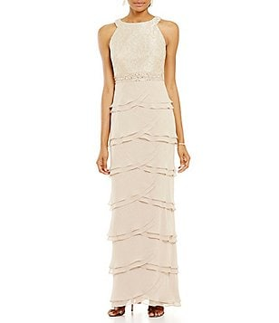 Jessica Howard Petite Lace Tiered Gown