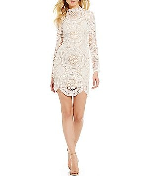 I.N. San Francisco Long-Sleeve Mock Neck Illusion-Yoke Lace Sheath Dress