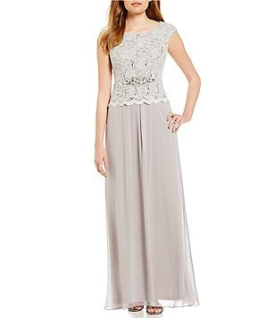 Jessica Howard Petite Cap-Sleeve Lace Chiffon Gown