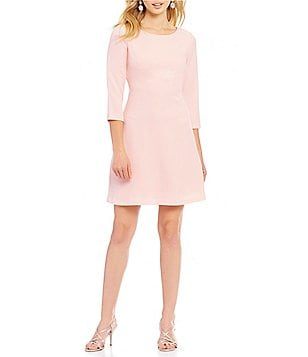 Jessica Howard Petite Round Neck 3/4 Sleeve Seamed A-Line Dress