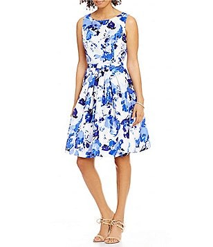 Jessica Howard Petite Belted Floral-Print Fit-and-Flare Dress